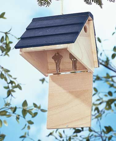 The Hide-a-Key Birdhouse lets you store spare keys in a less traditional hiding spot. This faux birdhouse looks real, but the hole is too small for birds to ent