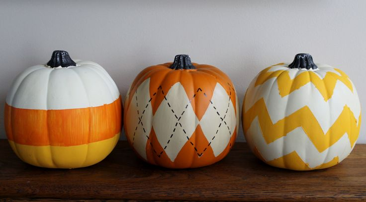 Argyle and Chevron Painted Pumpkins