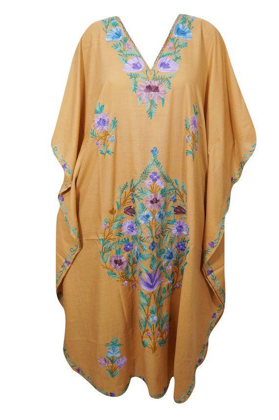 c81a52f65c62c Beautiful peach embellished floral maxi caftan bikini cover up boho jpg  570x856 Embroidered coverup kaftan floral