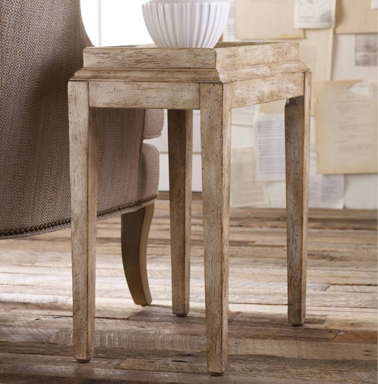 Vacation homes can sometimes be tiny. This is a sweet little end table in a washed finish which can go anywhere.
