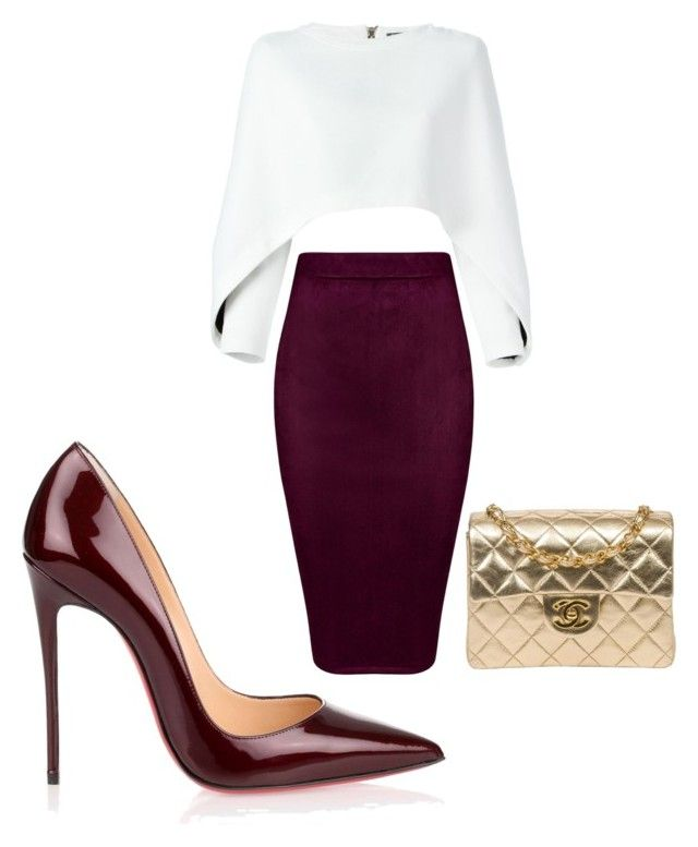 by sena12kan on Polyvore featuring polyvore fashion style Balmain Christian Louboutin Chanel clothing