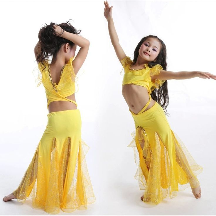 US $28.24 / piece 2015 New Girls Belly Dance Costume 2 Pcs Top*Skirt Kids Bollywood Costumes Red/Rose/Yellow/White/Blue Belly Dance Children Set