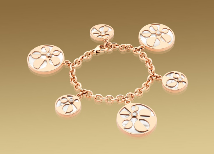 Mediterranean Eden bracelet in 18 kt pink gold  with mother of pearl and pavé diamonds