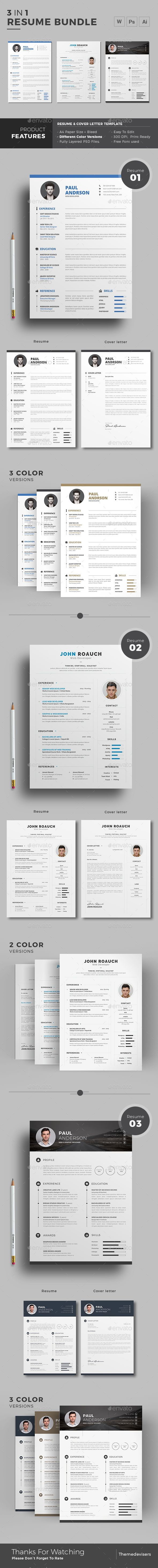 Resume Template PSD AI Illustrator MS Word