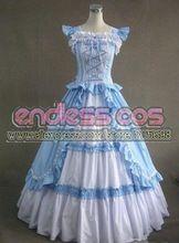 luz azul totalmente vestido lolita algodón vestidos de fiesta victoriana regalo de Halloween Navidad envío libre(China (Mainland))