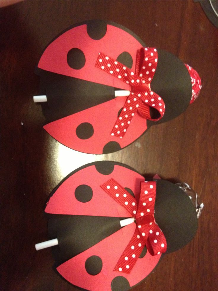 Lady bug birthday party favors