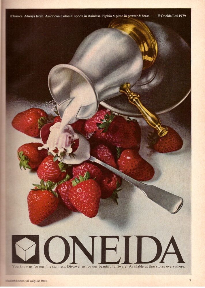 1980 Oneida Silverware Strawberries & Cream Print Advertisement Vintage Art 80s   eBay