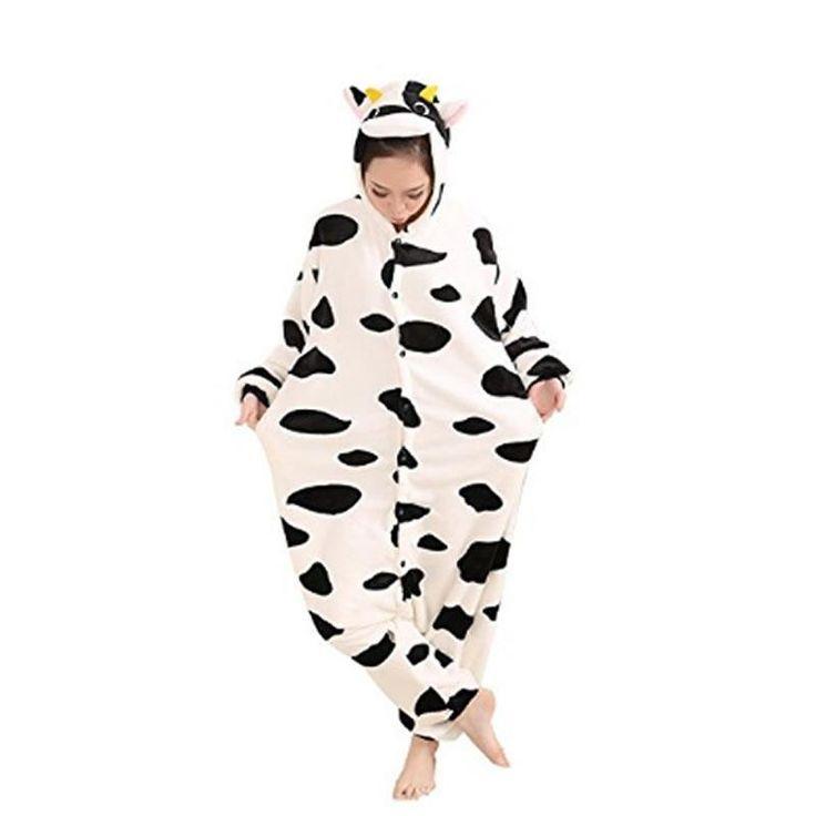 Animal Cosplay Costume Milk Cow Unisex Adult Pajamas