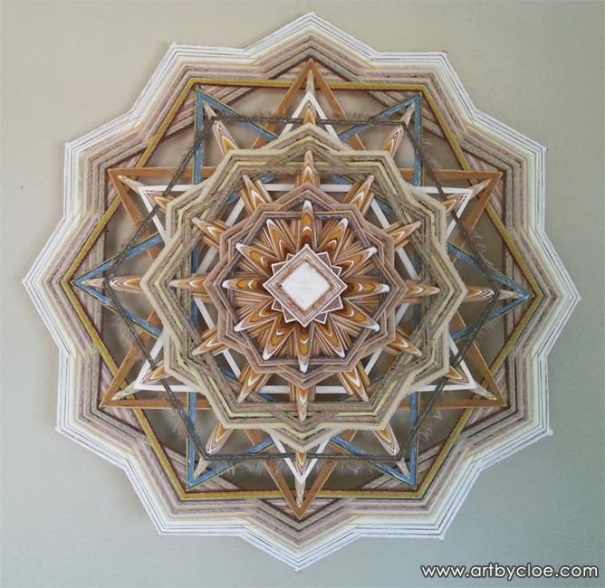 'Solitude' Mandala, 120 cm, made with organic linen, recycled silk, banana fibre, recycled cotton, hemp and more... Handwoven by Cloe Collette. Please SHARE! -- Mandala Wall Art made with love ➤ www.artbycloe.com