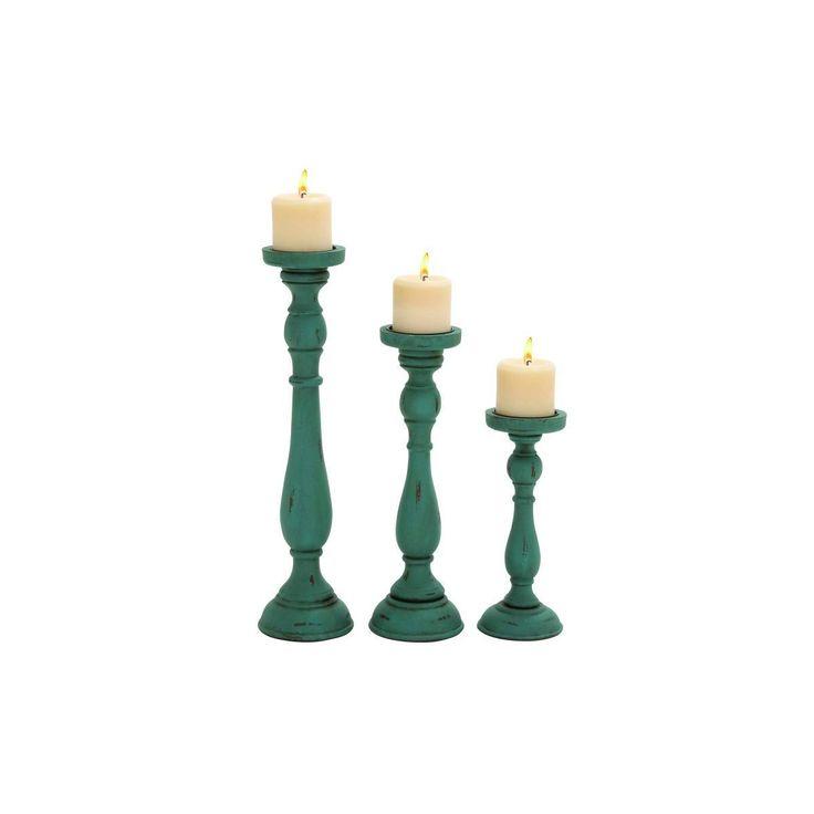 Enterprises Teal Candle Holders