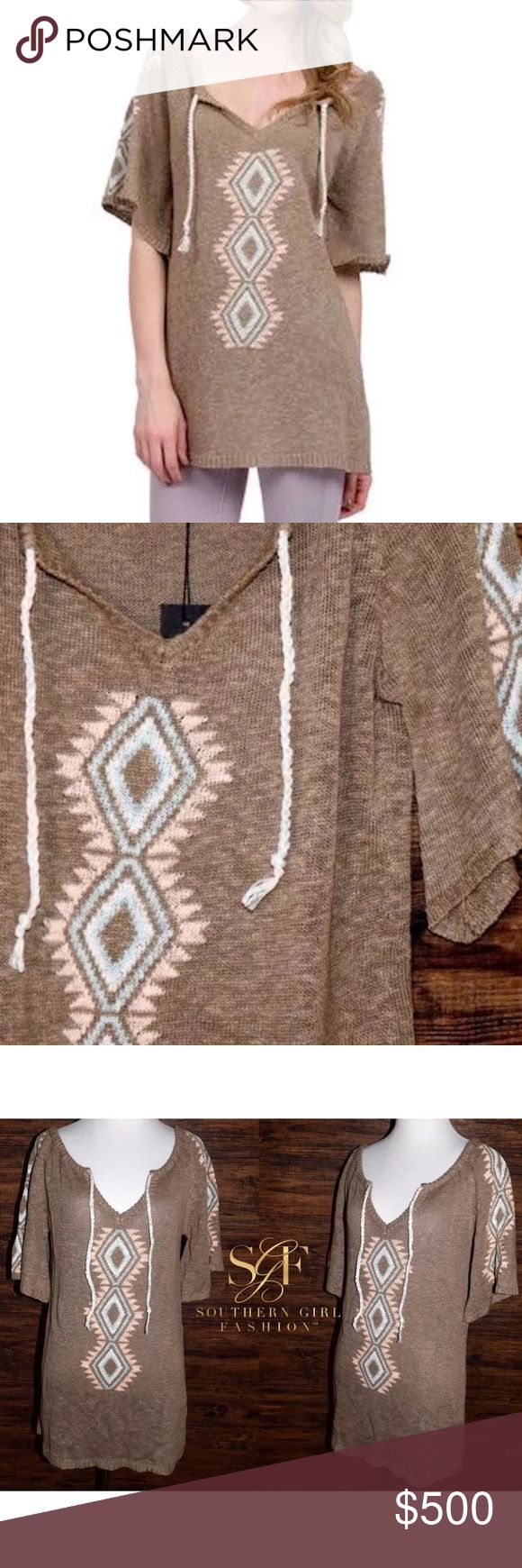 ETHNIC TUNIC Short Sleeve Sweater Boho Mini Dress Available Sizes: P/S and M/L. New With Tags. $248 MSRP + Tax.   • Beautiful beige sweater tunic featuring an effortless silhouette & ethnic-inspired diamond design. • V-neckline includes rainbow tassel ties. • Semi-stretchy, soft & comfortable. • Ribbed trimming along hemlines. • Unlined, eyelet. • Runs true to size. • Short sleeves. • Linen, Cotton.  {Southern Girl Fashion - Boutique Policy}   ✔️ Same-Business-Day Shipping (10am CT). ✔️…