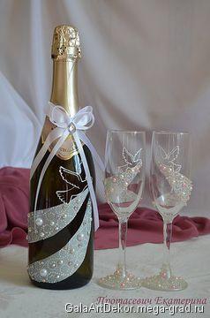Свадебные бокалы и шампанское ручной работы - авторская посуда для дома. МегаГрад - главный ресурс мастеров и художников