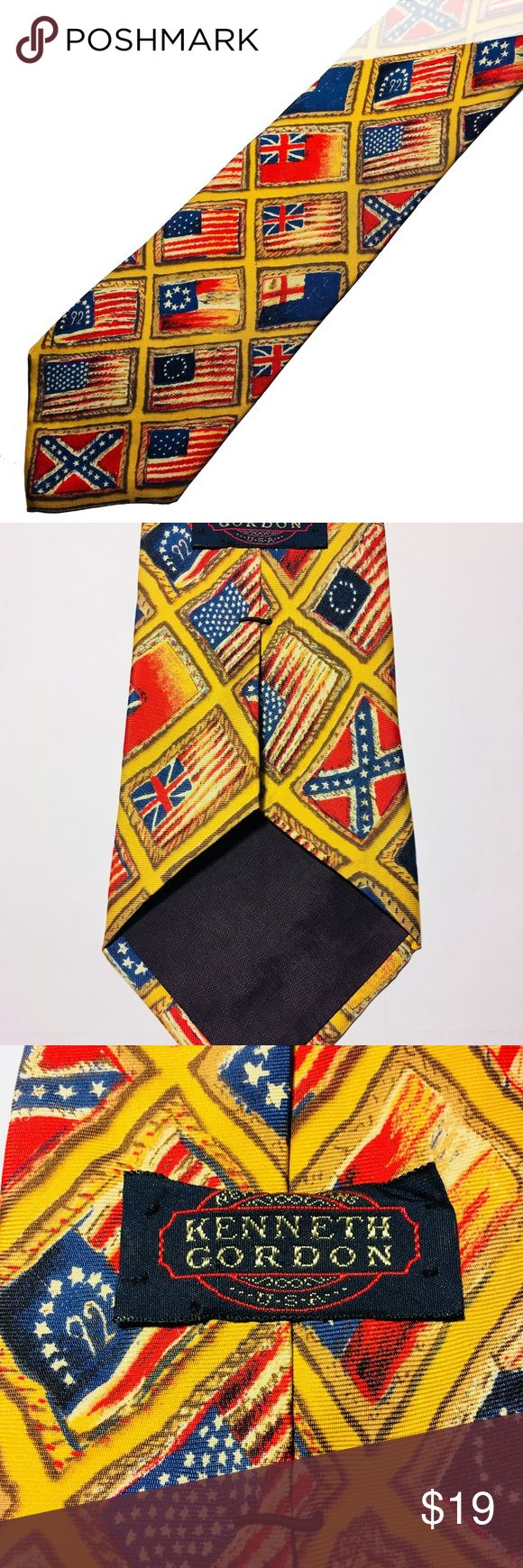 Kenneth Gordon Tie Confederate USA British Flags Unique Kenneth Gordon silk tie printed in Italy, made in USA. 58 inch length, 4 inch width. Features historical flags of the USA from long ago, the Confederate or rebel flag and variations of the British flag from the early 1800s. It does have a few thread runs that aren't really noticeable due to the bright colors but they are there about 6 inches up from the botton of the tie.  Makes a nice display piece if you're a history collector or tie…