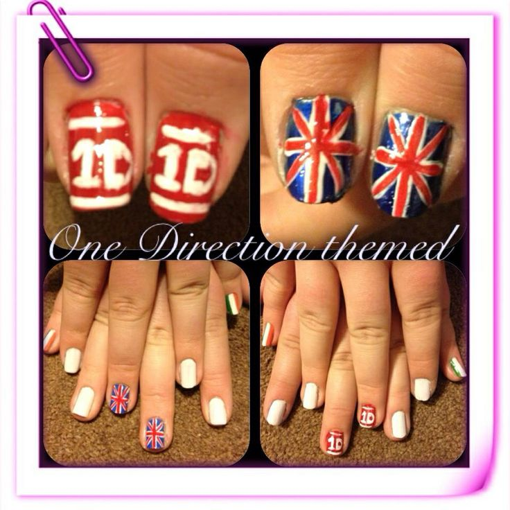 "One Direction"" themed nail art Freehand using acrylic paint"