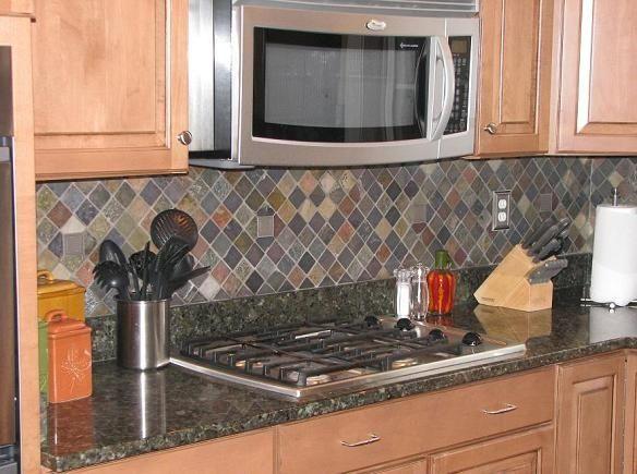Granite Countertop With Slate Tile Backsplash