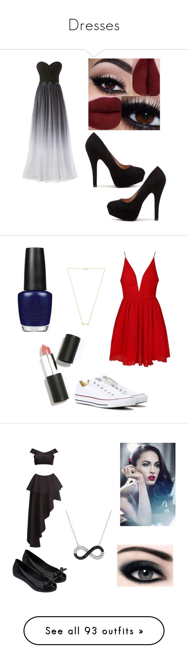"""Dresses"" by basic-penguin-girl on Polyvore featuring Ally Fashion, Converse, OPI, Sigma, Wanderlust + Co, Fame & Partners, Melissa, Giorgio Armani, LE3NO and NARS Cosmetics"