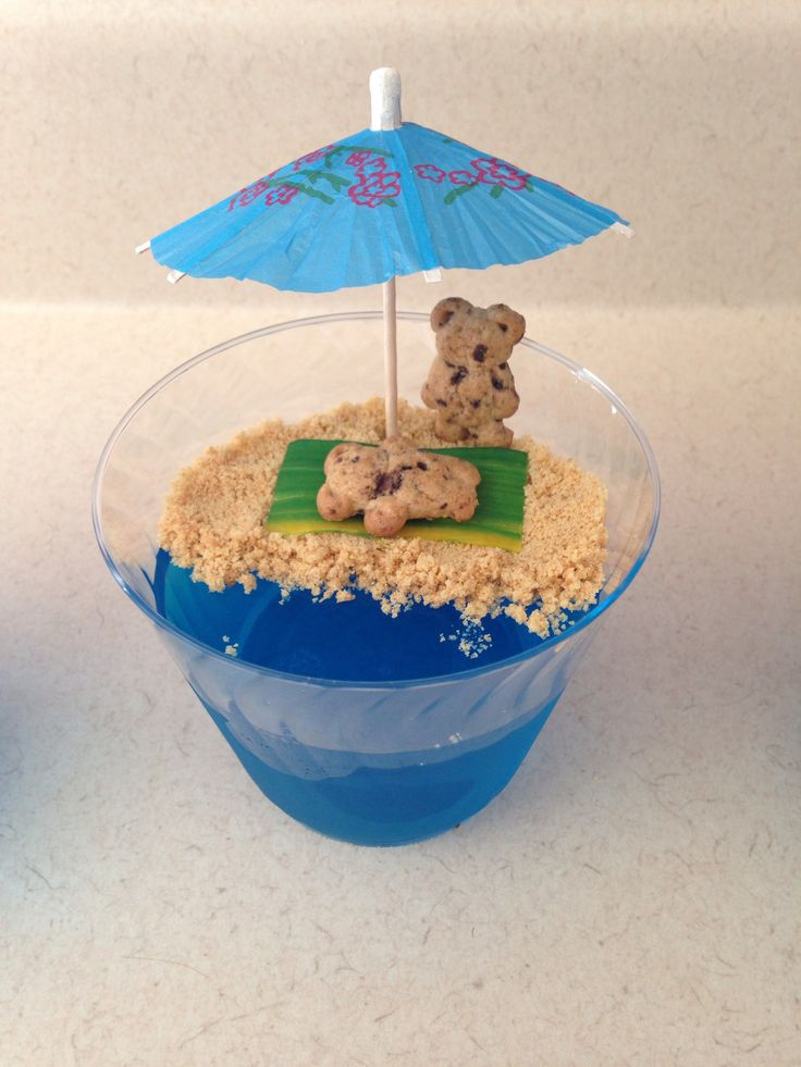 Tourists on the Beach Jello Cups - blue jello with crushed nutter butter cookies for the sand - Lilo and Stitch Movie Night - Disney Movie Night - Family Movie Night