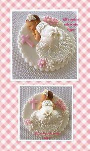 Elegant White Pale Pink Baby Girl Cake Topper Christening Fondant | eBay