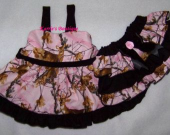 2 pcs Pink Camo Dress Set ~ Camo Dress + Ruffle Bloomer / Ruffle Dress / Outfit / Infant / Baby / Girl / Toddler / Boutique Clothing