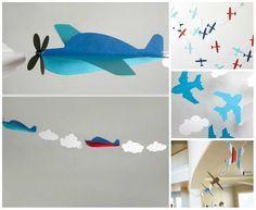 Decoração de festa infantil com guirlanda de aviões
