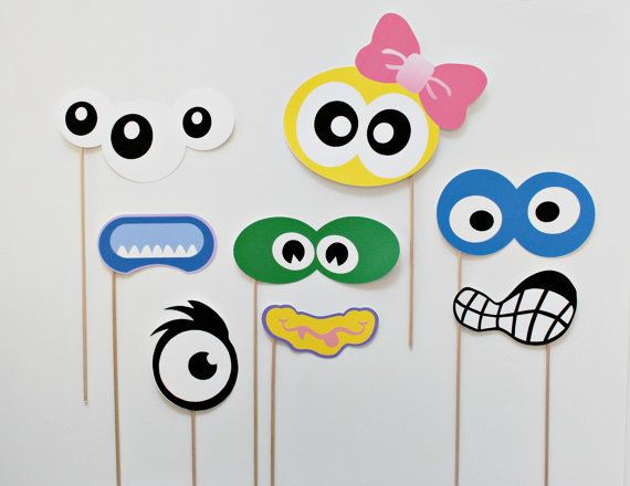 Silly Monster Photo Booth Prop set. Birthday Photobooth Props on a stick photobooth(China (Mainland))