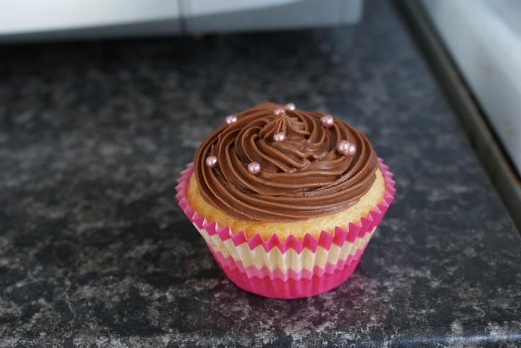 My vanilla cupcake with dark chocolate butter cream icing.