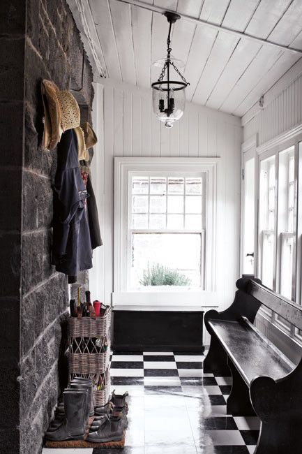 Mud room. Love everything about this, but especially love repurposing old church pew!