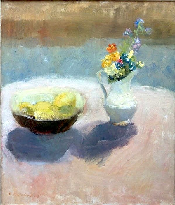 Alice Mumford, 'Lemons and Flowers on the Round Table'