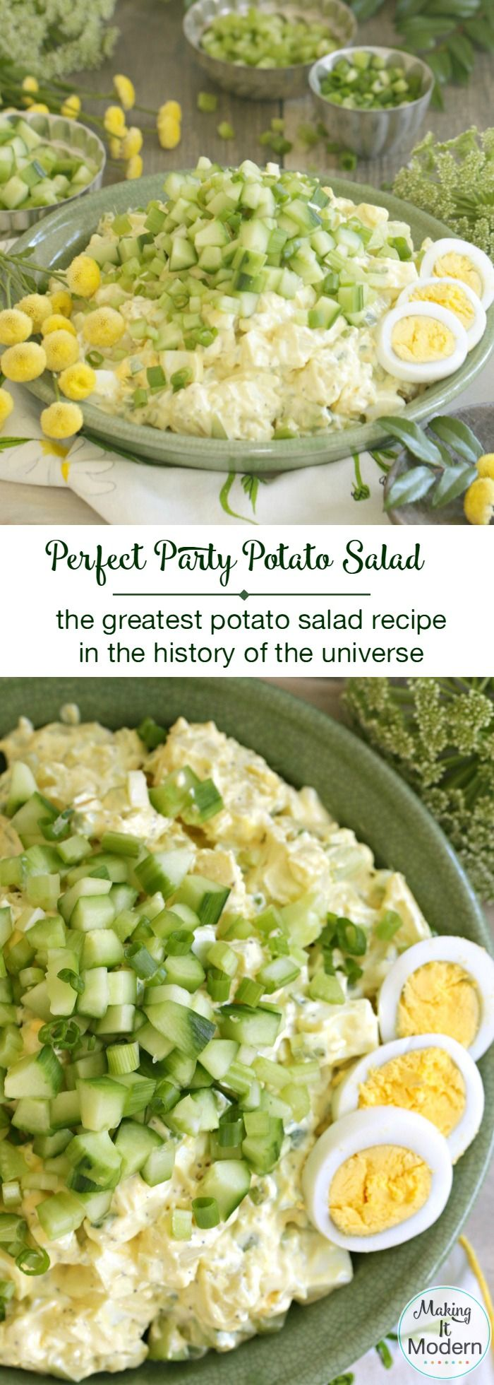 This Perfect Party Potato Salad recipe is hands down the greatest potato salad recipe ever! Click through for the recipe and fun how-to video.