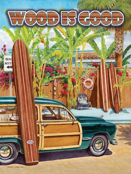 Wood is Good Metal Sign, Ford Woody, Surf Boards, Bar, Den or Gameroom Decor #OMSC #HawaiianLifestyle
