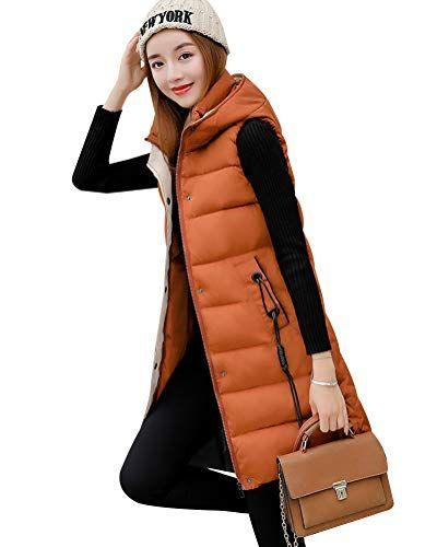 b3365633aa824c Damen Weste Lang Mantel Outwear Ärmellose mit Kapuze Steppweste  Wintermantel Vest Karamell 3XL