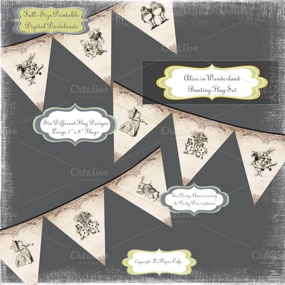 Check out Alice in Wonderland Bunting Flags by Le Paper Cafe on Creative Market