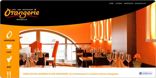 Webdesign Orangerie Innsbruck created by Werbeagentur Grafikatur Media