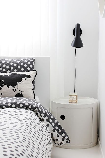 Via A Merry Mishap   Bedroom   Black and White   Ferm Living Pillow   Kartell Componibili (1967)