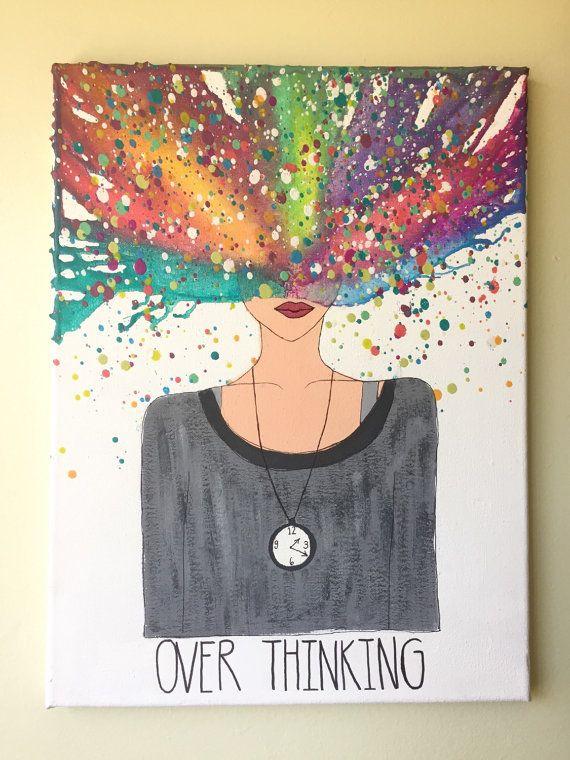 Derretido arte Crayon Overthinking por CrayonGogh en Etsy
