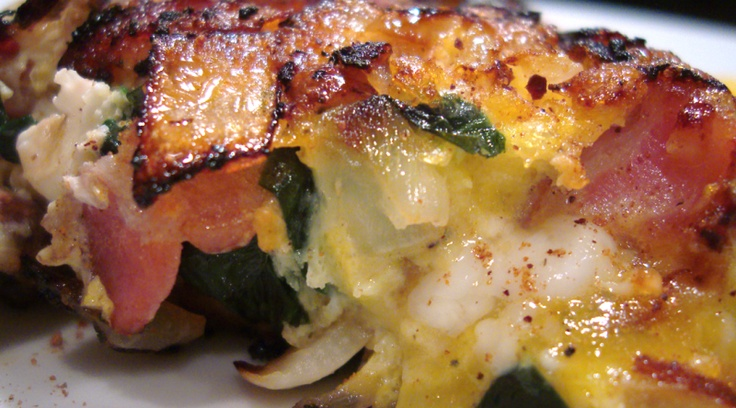 Paleo Spinach Frittata, A Crustless Quiche   Bacon, Spinach and Quiche