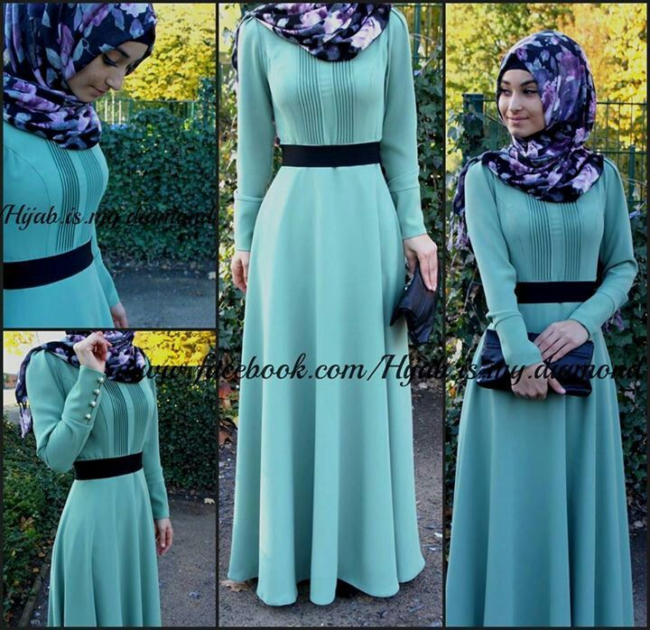 feeling daring? this sky blue dress with a colorful purlple hijab is the perfect outfit for a cold day
