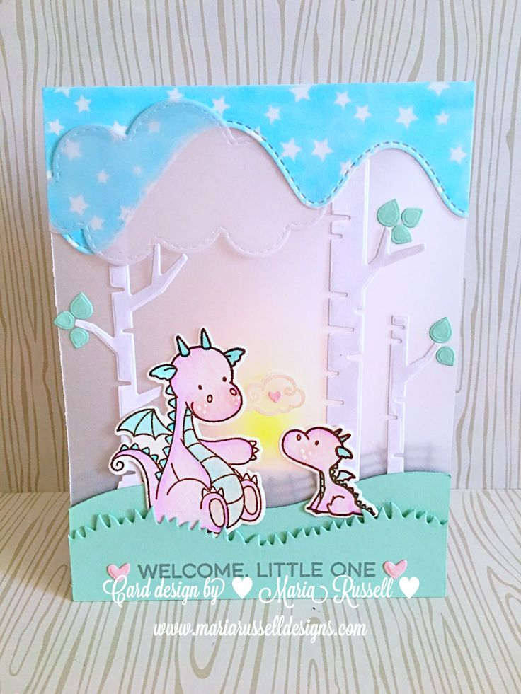 Led Tealight Vellum card for a new baby #mftstamps magical dragons