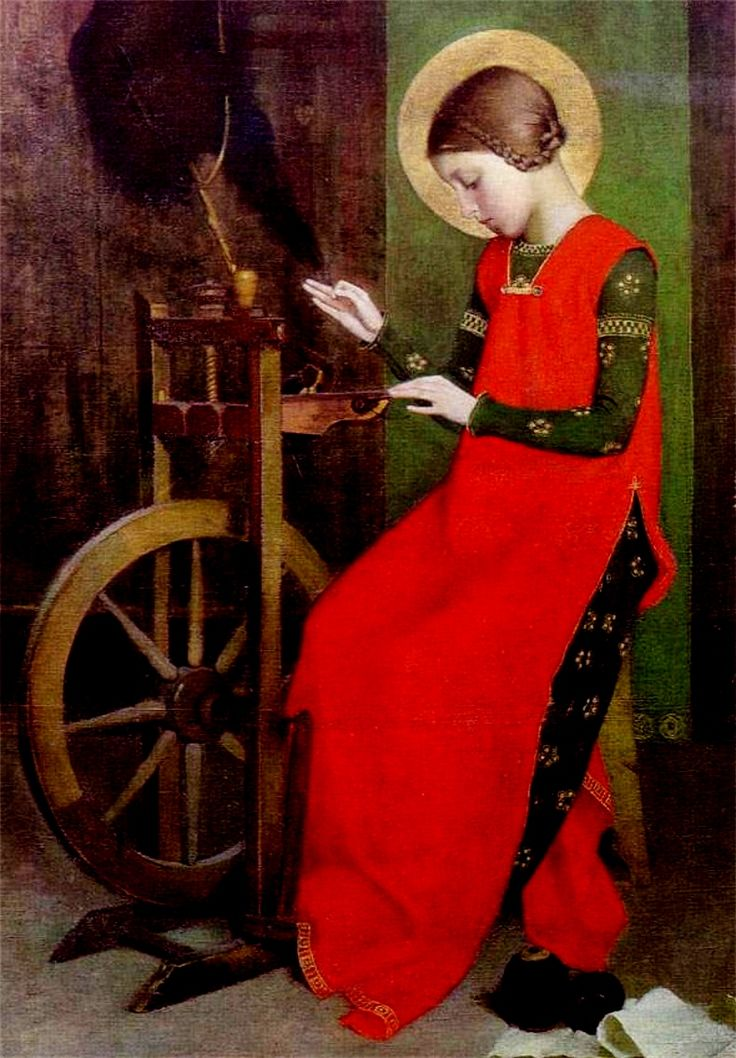 St Elizabeth of Hungary Spinning for the Poor , by Marianne Stokes