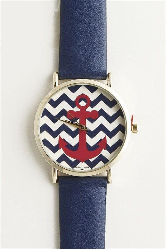 Piace Boutique - Chevron Anchor Watch (Navy), $22.99 (http://www.piaceboutique.com/chevron-anchor-watch-navy/)