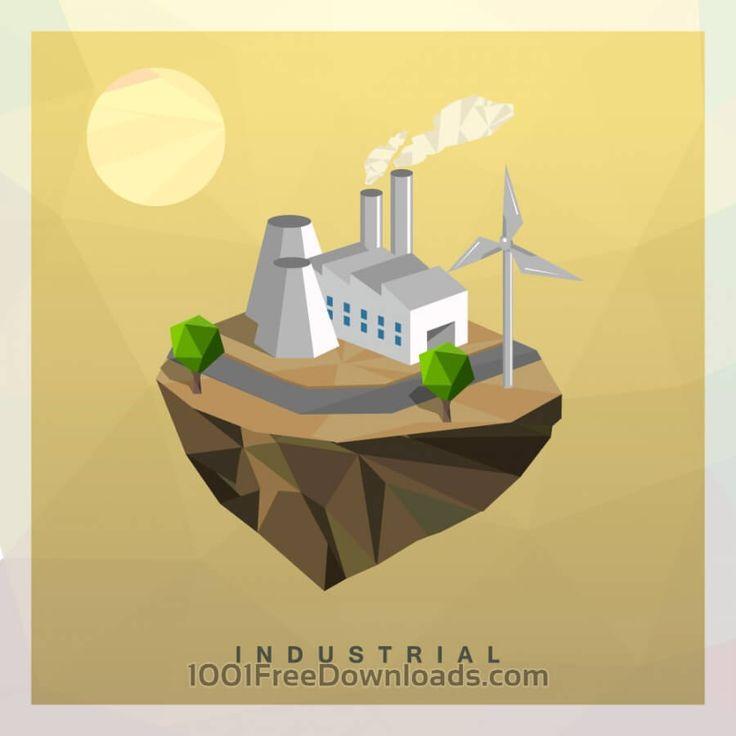 Free Vectors: Isometric Industrial Vector Floating Island | Art