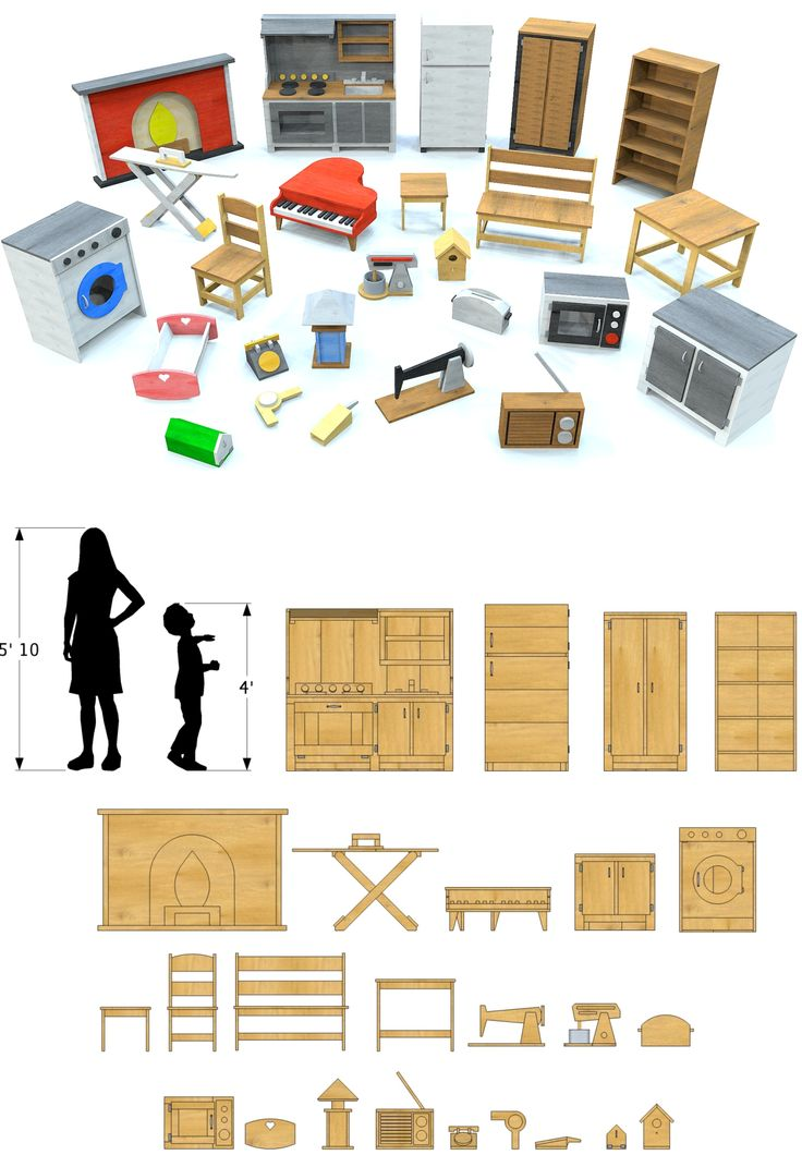 25 item, wooden play furniture plan.  Digital, step by step plans for 25 play furniture and household items.  Includes detailed pictures.  Download and start building your child some wooden toy furniture today!