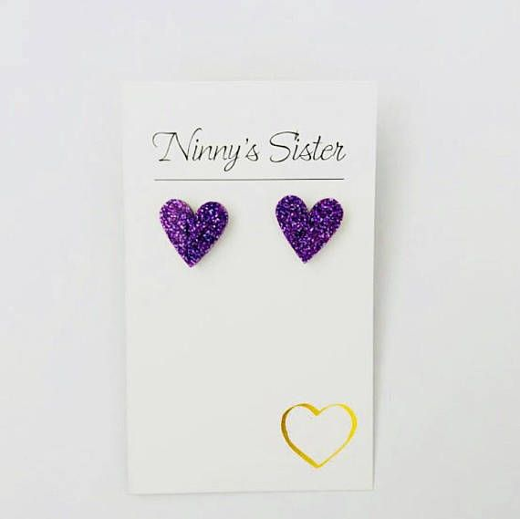 Gold and Silver Lux Glitter Sweet Heart Studs