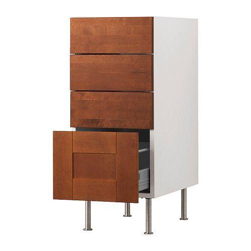 AKURUM Base cabinet with 4 drawers - birch effect, Ädel medium brown, 15