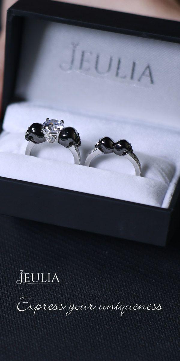 Two Tone Round Cut Created White Sapphire Skull Ring #Jeulia