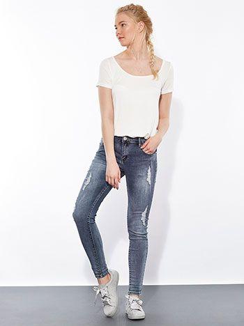 Ξεβαμμένο τζιν παντελόνι με βαμβάκι και σκισίματα    | Για αγορά πατήστε πάνω στην εικόνα