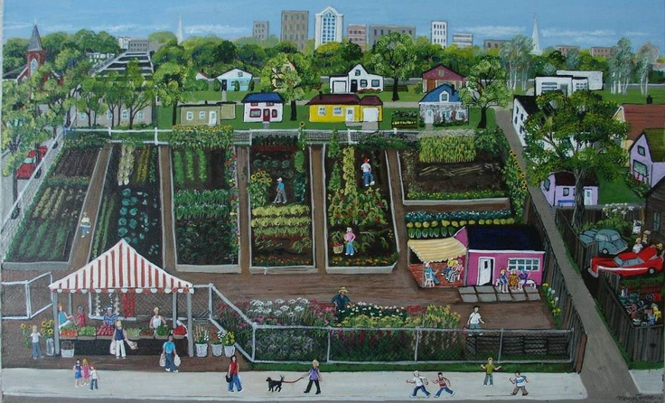 I love the idea of Community Gardens, so I have painted several that exist in my imagination only