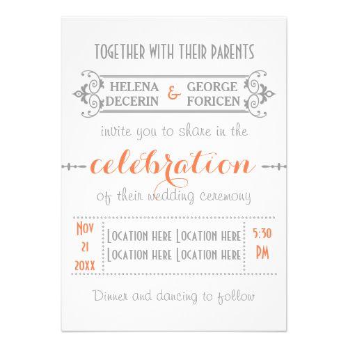 Modern typography coral, grey wedding cards