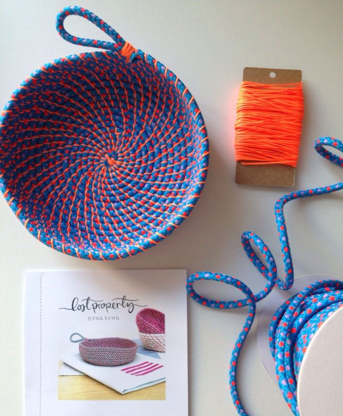 Coil rope bowl tutorial and materials. Woven rope basket making kit and instructions DIY (20.00 USD) by LostPropertyHongKong