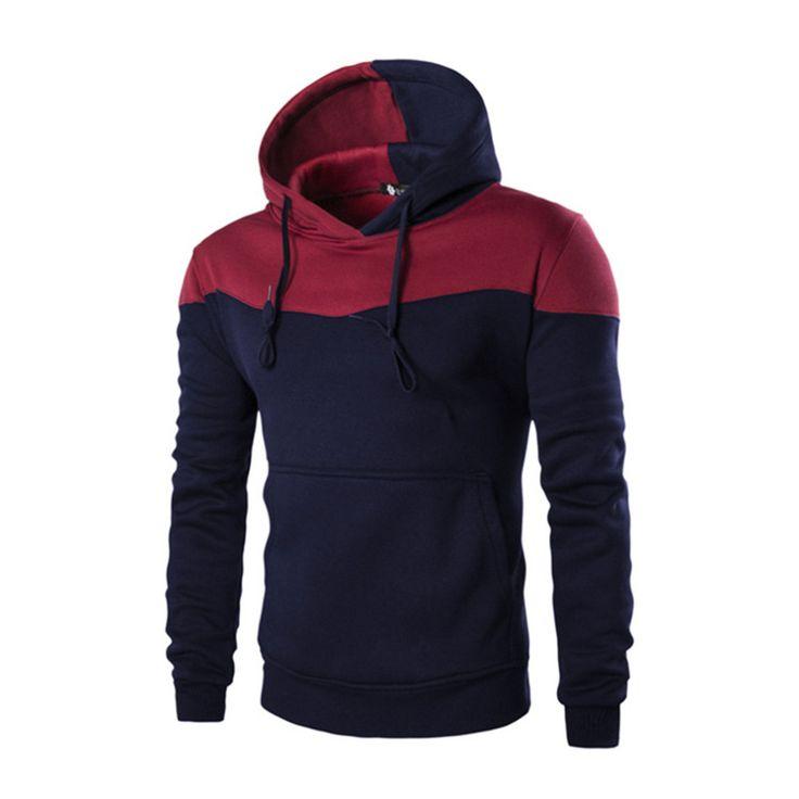 Men Patchwork Hoodies Long Sleeves Sweatshirt Autumn Winter Hoodie Outwear